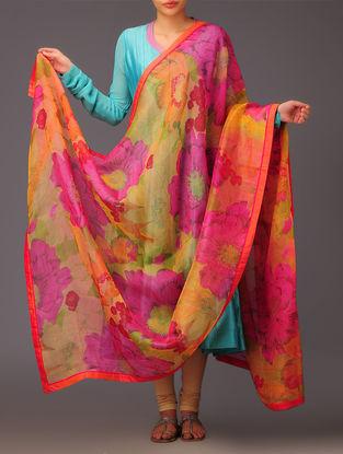 Saffron-Fuchsia Floral Silk Dupatta
