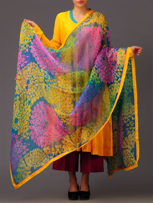 Teal-Yellow Damask Silk Dupatta