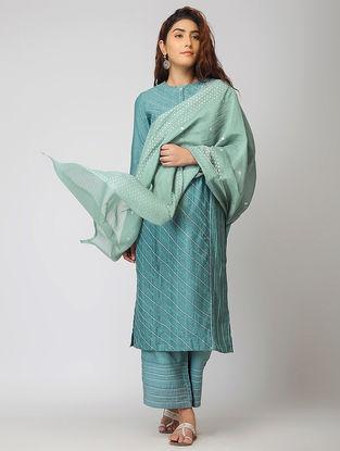 Teal Cotton Silk Dupatta with Warak and Gota Work