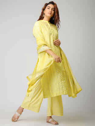 Yellow Cotton Silk Dupatta with Warak and Gota Work
