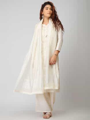Ivory Cotton Silk Dupatta with Warak and Gota Work