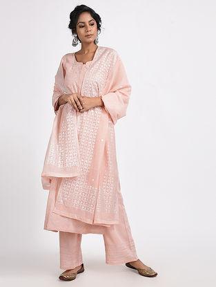 Pink Varak-printed Cotton Silk Dupatta