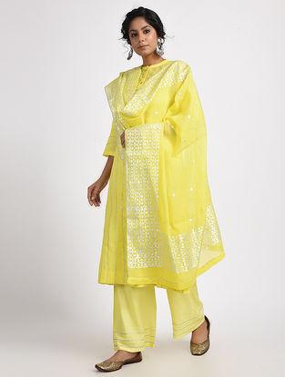 Lime Varak-printed Cotton Silk Dupatta
