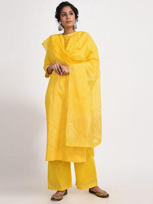 Yellow Varak-printed Cotton Silk Dupatta