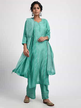 Teal Varak-printed Cotton Silk Dupatta