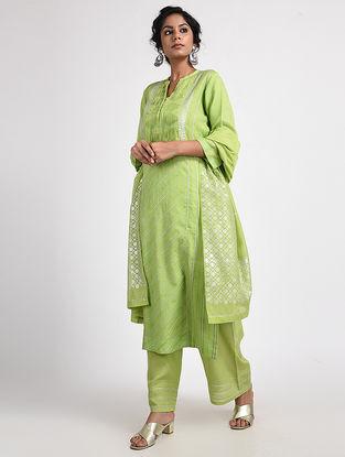 Green Varak-printed Cotton Silk Dupatta