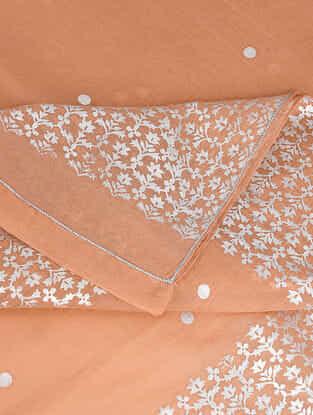 Peach Varak-printed Cotton Silk Dupatta