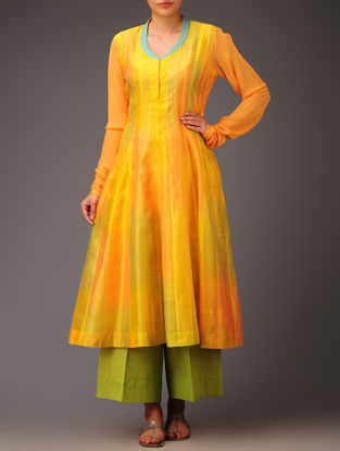 Yellow-Turquoise Panel Chanderi Anarkali Kurta