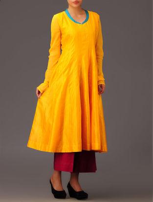 Yellow-Teal Panel Chanderi Anarkali Kurta