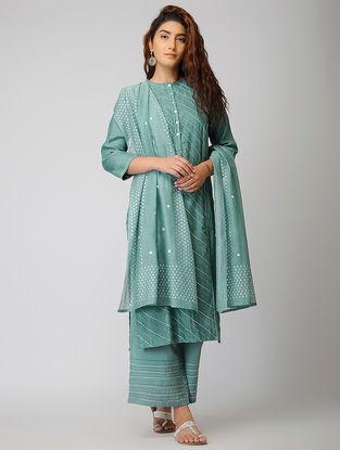 Teal Cotton Silk Kurta with Warak and Gota Work