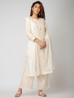 Ivory Cotton Silk Kurta with Warak and Gota Work