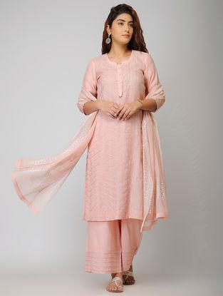 Pink Cotton Silk Kurta with Warak and Gota Work
