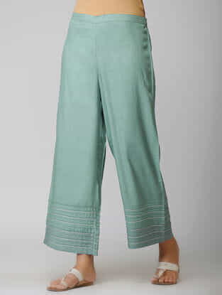 Teal Elasticated Waist Cotton Pants with Warak and Gota Work