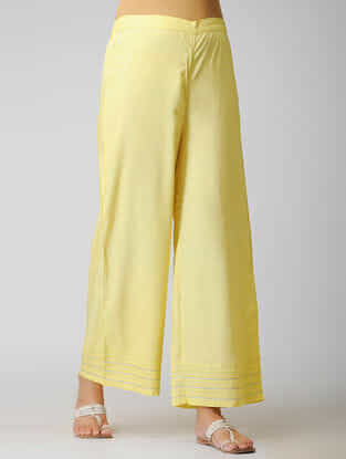 Yellow Elasticated Waist Cotton Pants with Warak and Gota Work