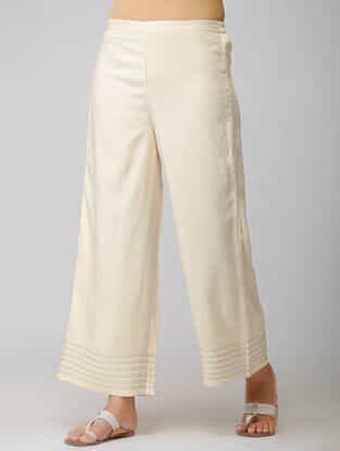 Ivory Elasticated Waist Cotton Pants with Warak and Gota Work