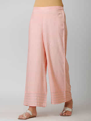 Pink Elasticated Waist Cotton Pants with Warak and Gota Work