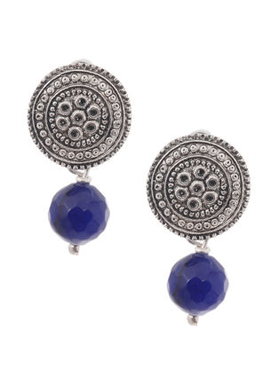 Onyx Earrings with Floral Motif