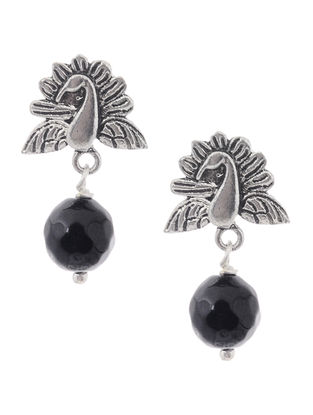 Onyx Earrings with Peacock Design