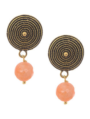 Onyx Gold Tone Earrings