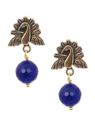 Onyx Gold Tone Earrings with Peacock Design