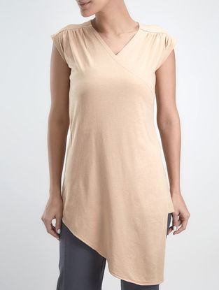 Cream V-neck Organic Cotton-Lenzing Modal Tunic