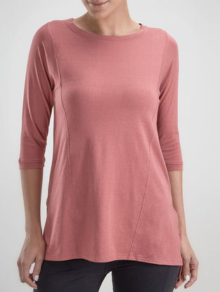 Pink Round Neck Organic Cotton-Lenzing Modal Top