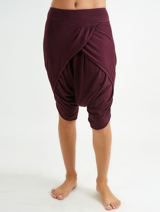 Burgundy Elasticated Waist Organic Cotton-Lenzing Modal Yoga Pants