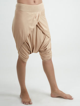 Cream Elasticated Waist Organic Cotton-Lenzing Modal Yoga Pants
