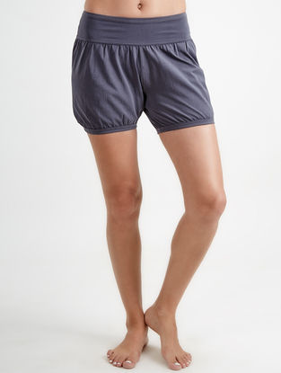 Blue Elasticated Waist Core Spun Organic Cotton-Lycra Yoga Shorts