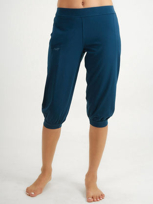 Blue Elasticated Waist Core Spun Organic Cotton-Lycra Yoga Pants