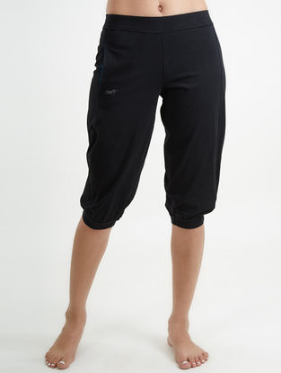 Black Elasticated Waist Core Spun Organic Cotton-Lycra Yoga Pants