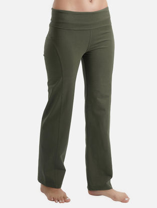 Olive Elasticated Waist Organic Cotton-Lycra Yoga Pants
