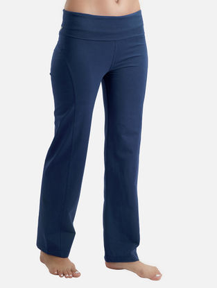 Indigo Elasticated Waist Organic Cotton-Lycra Yoga Pants