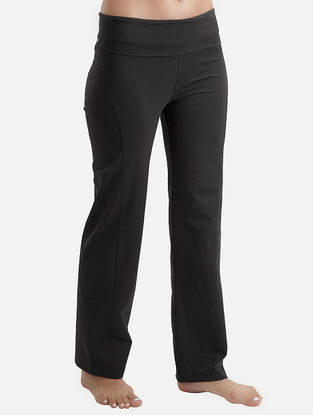 Black Elasticated Waist Organic Cotton-Lycra Yoga Pants