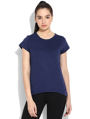 Blue Organic Cotton Yoga Tops
