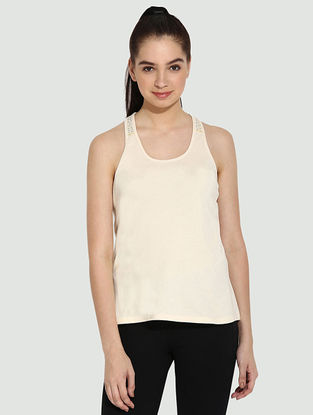 Beige Organic Cotton Yoga Tops