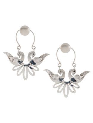Mughal Jali Birds Bali Silver Earrings