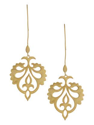 Mughal Jali Golden Silver Earrings