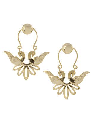 Mughal Jali Birds Golden Bali Silver Earrings