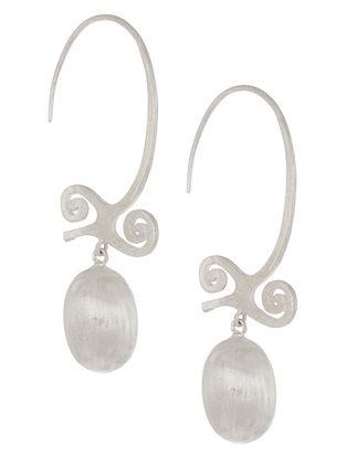 Open Hoops of Bravery Silver Earrings