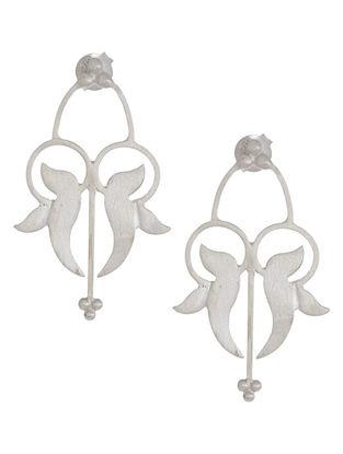 Mughal Jali Leaf Silver Earrings