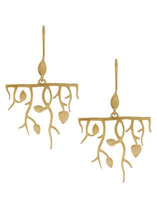 Golden Leaves & Twigs Silver Earrings