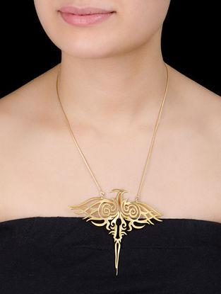 Golden Phoneix Bird Silver Pendant Silver Necklace