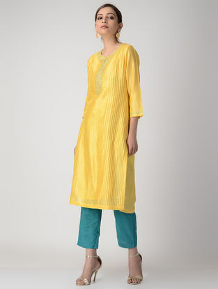 Yellow Embroidered Pintuck Silk Chanderi Kurta with Slip (Set of 2)