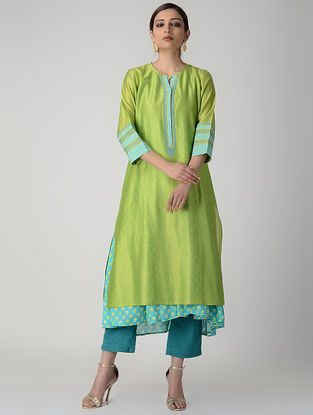 Green-Teal Embroidered Silk Chanderi Kurta with Slip (Set of 2)