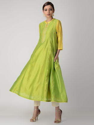 Green-Yellow Hand-embroidered Paneled Silk Chanderi Kurta with Slip (Set of 2)