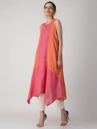 Pink-Orange Pintuck Paneled Silk Chanderi Kurta with Slip (Set of 2)