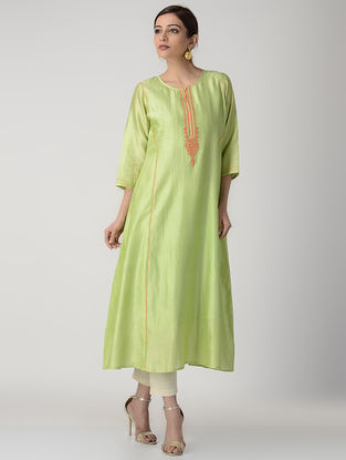 Green Embroidered Paneled Silk Chanderi Kurta with Slip (Set of 2)