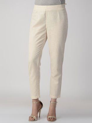 Ivory Elasticated Waist Cotton Flax Pants