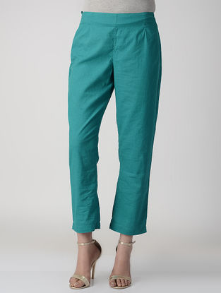 Teal Elasticated Waist Cotton Flax Pants